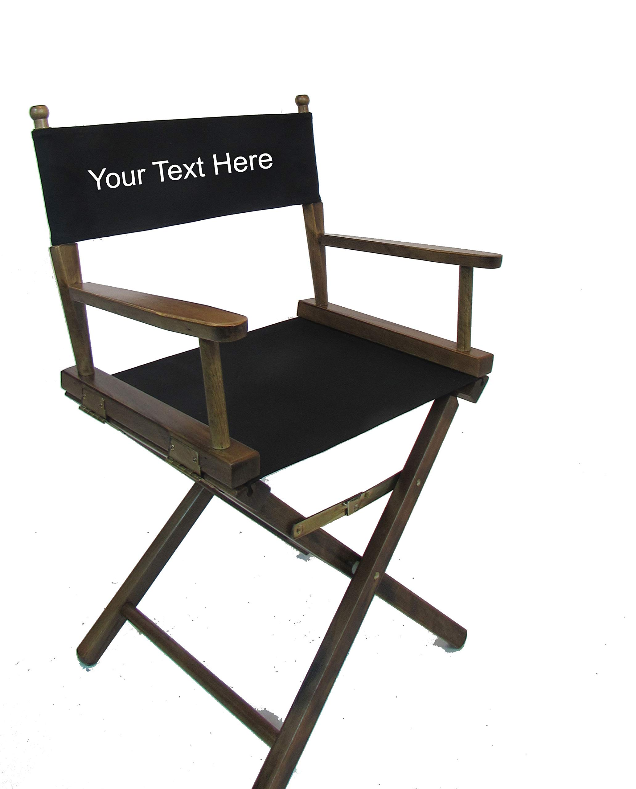Personalized Imprinted Gold Medal Contemporary 18'' Table Height Walnut Frame Directors Chair - Black by TLT