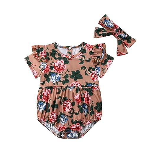 a58bdf05d201c Amazon.com: Newborn Kids Baby Girl Clothes Floral Print Round Neck ...