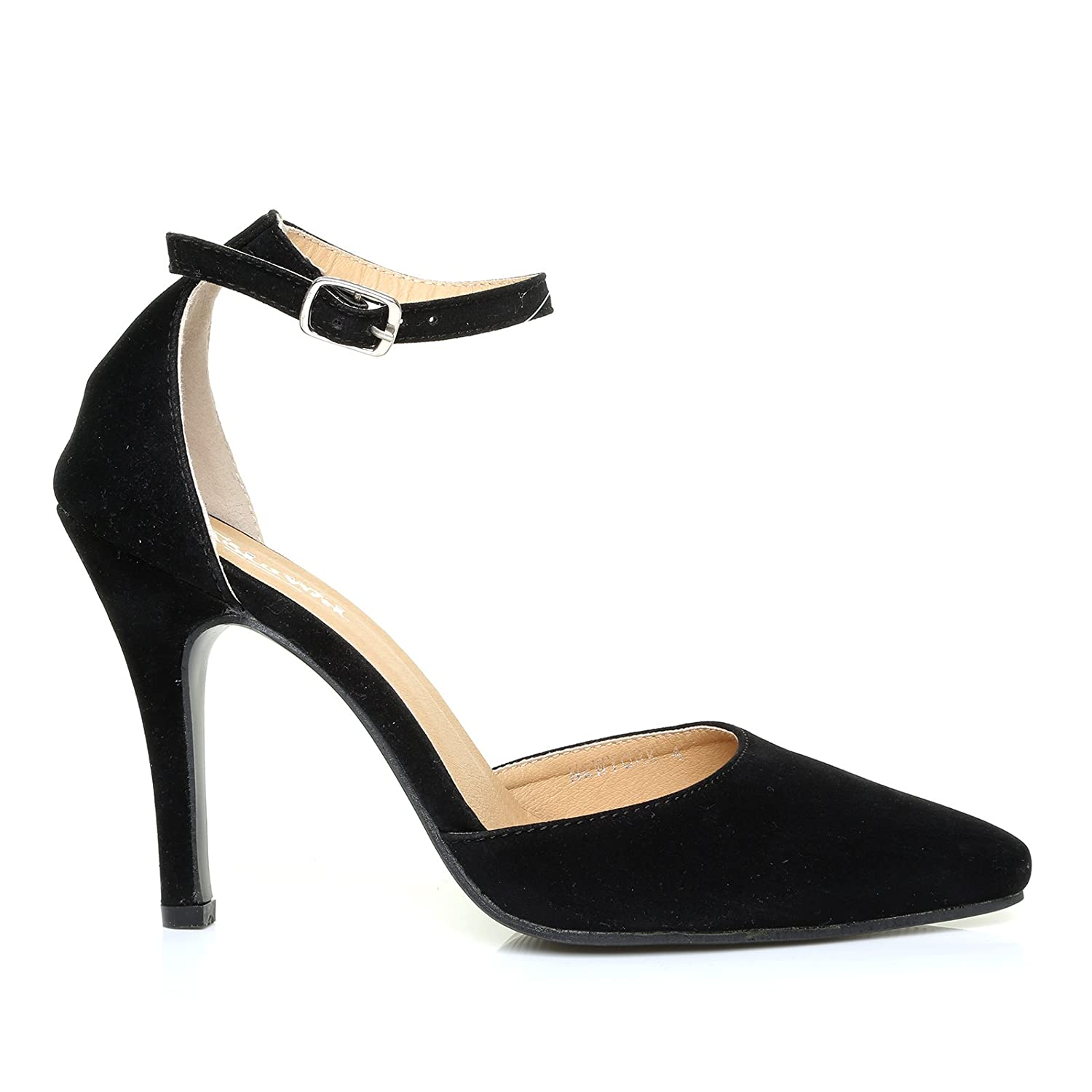 cb9fab21024 New York Black Faux Suede Ankle Strap Pointed High Heel Court Shoes ...