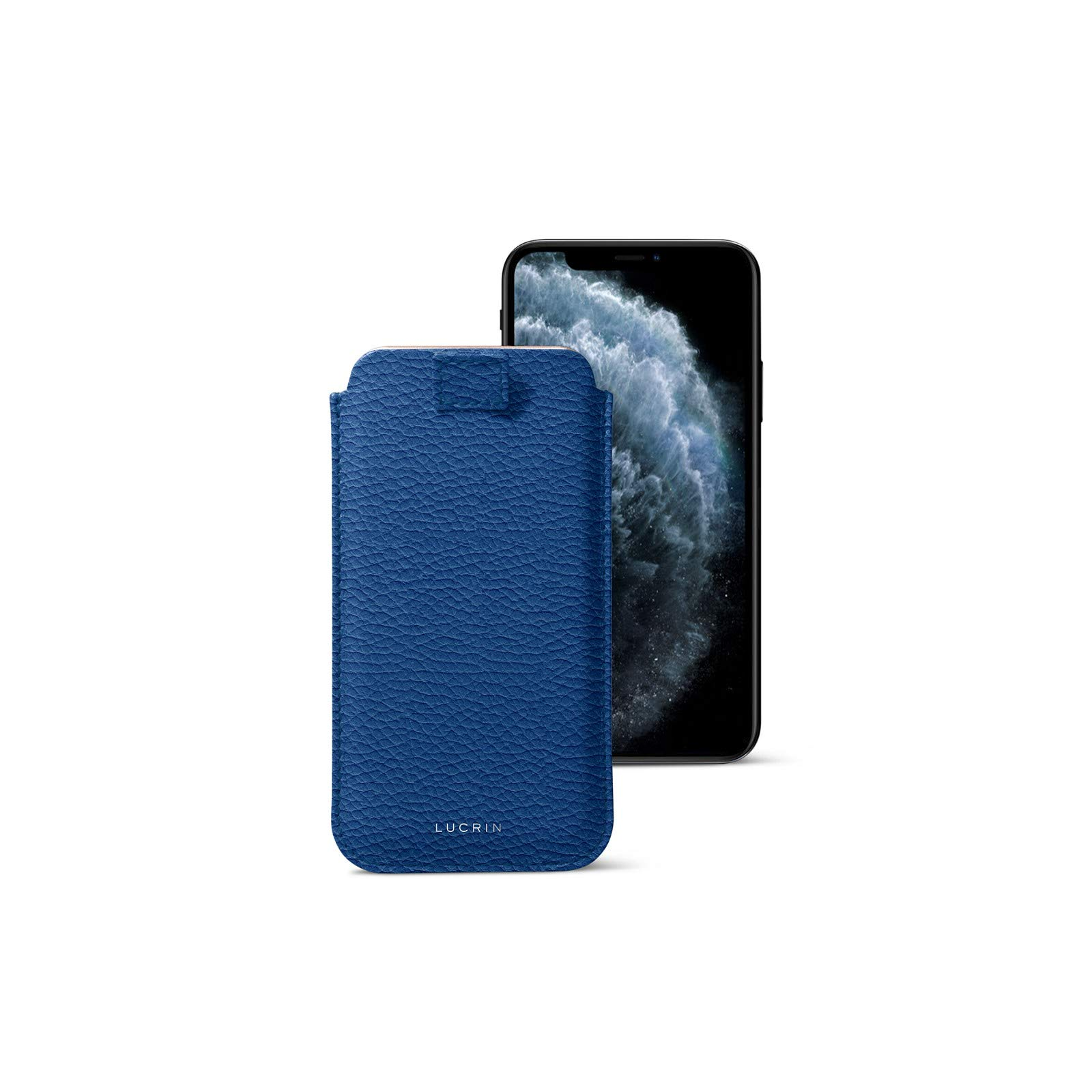 Lucrin - Pull-Up Strap Case Sleeve Cover Compatible with iPhone 11 Pro Max/XS Max/ 8 Plus and Wireless Charging - Royal Blue - Granulated Leather by Lucrin