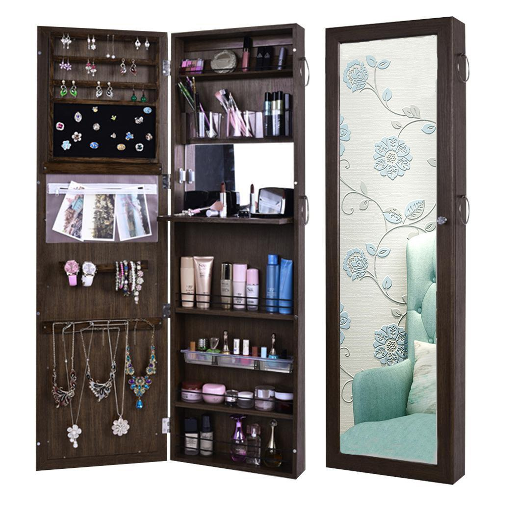 Wooden Lockable Wall Door Mounted Jewelry Organizer Cabinet Armoire with Mirror LED Light(US Stock)