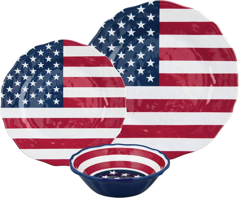 UPware 12-Piece Melamine Dinnerware Set, Includes Dinner Plates, Salad Plates, Bowls, Service for 4. (American Flag)