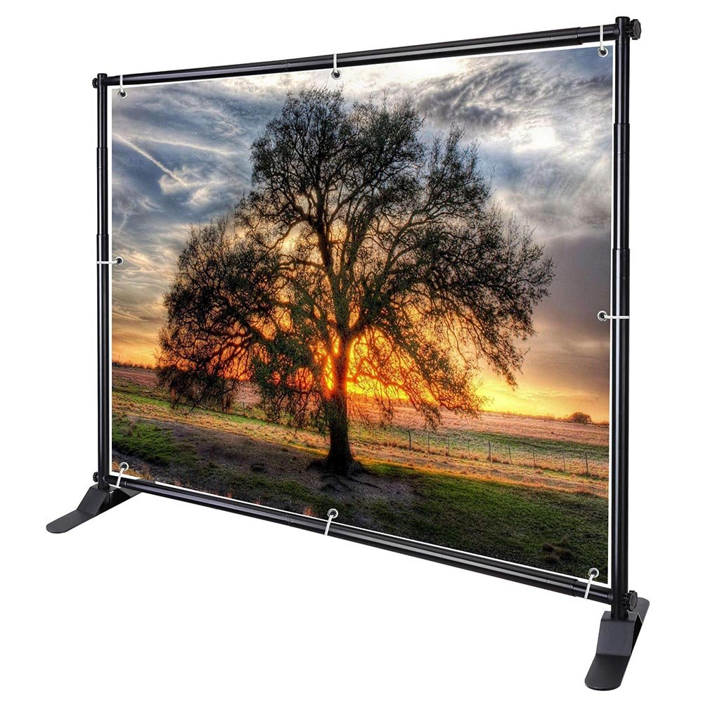 WinSpin 10' Telescopic Banner Stand Step and Repeat Adjustable Backdrop Wall Exhibitor Expanding Display