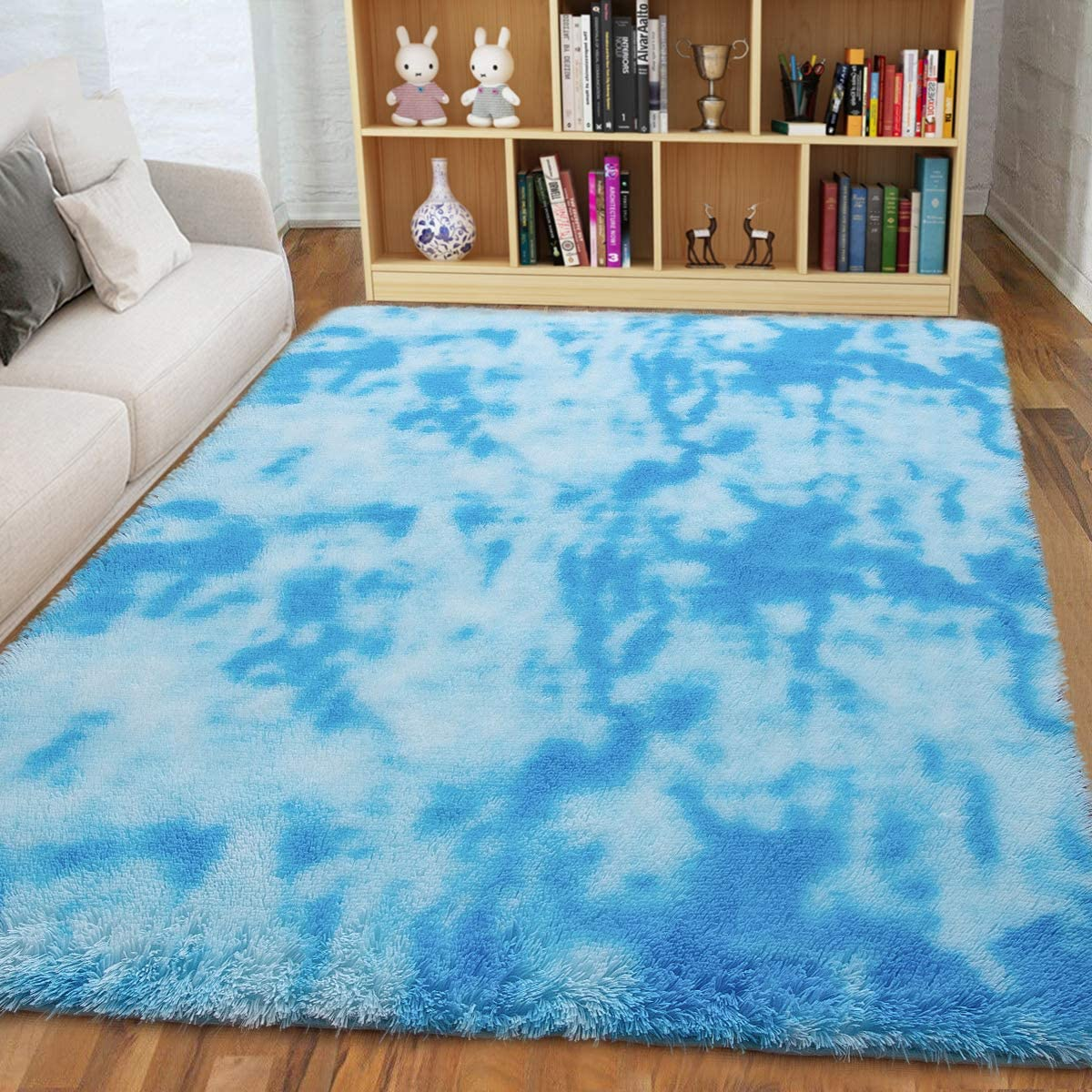 ISEAU Soft Shag Area Rug Modern Indoor Fluffy Rugs, Ultra Comfy Abstract Shaggy Fur Living Room Carpets, Suitable as Bedroom Nursery Rug for Girls and Kids Home Decor, 5ft x 8ft, Blue