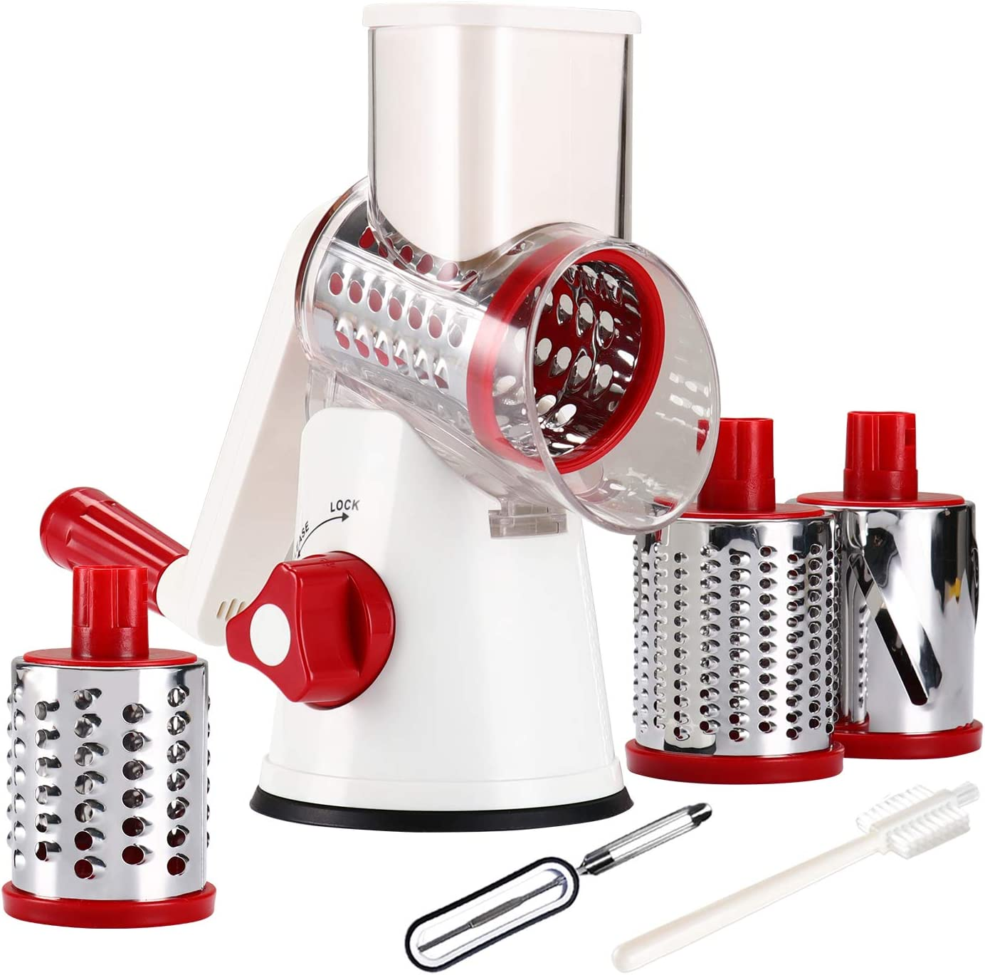 Tevokon Cheese Grinder Rotary Cheese Shredder Multi Blade Rotary Grater Non-slip Nut Slicer Vegetable Shredder Food Preparation Round Mandoline with Peeler