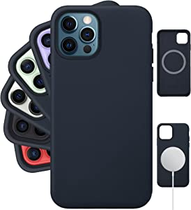 LONLI Classic | Genuine Nappa Leather Case with Built-in Magnets for MagSafe - for Apple iPhone 12 Pro Max - (6.7 inch, Midnight Blue)