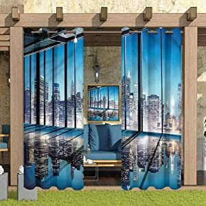 """ParadiseDecor Modern Indoor/Outdoor for Garden Drapes Porch Gazebo Curtains Buildings with Glass 108"""" W x 63"""" L"""