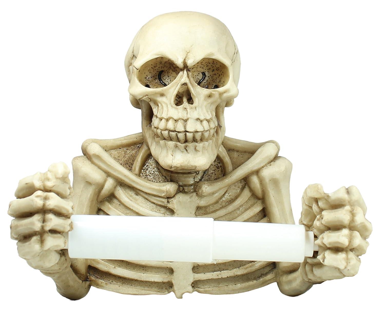 Totenkopf Skelett Abroller für Klopapierhalter Toilettenpapierhalter WC Abroller colourliving