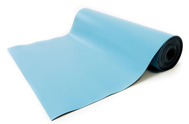 Bertech ESD高温度ゴムマットロール、厚さ0.08 CM、ブルー 2.5' Wide x 20' Long x 0.08