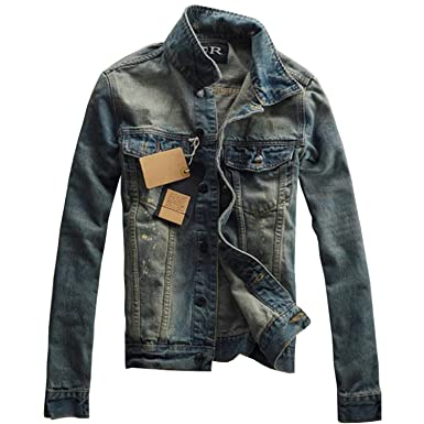 Also Easy Men Retro Denim Jackets Long Sleeve Patch Cowboy Jacket Blue Streetwear Slim Casual Coat