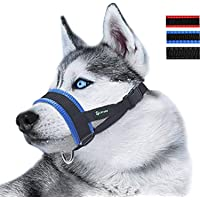 Lepark Nylon Dog Muzzle for Small,Medium,Large Dogs Prevent from Biting,Barking and Chewing,Adjustable Loop(S/Blue)