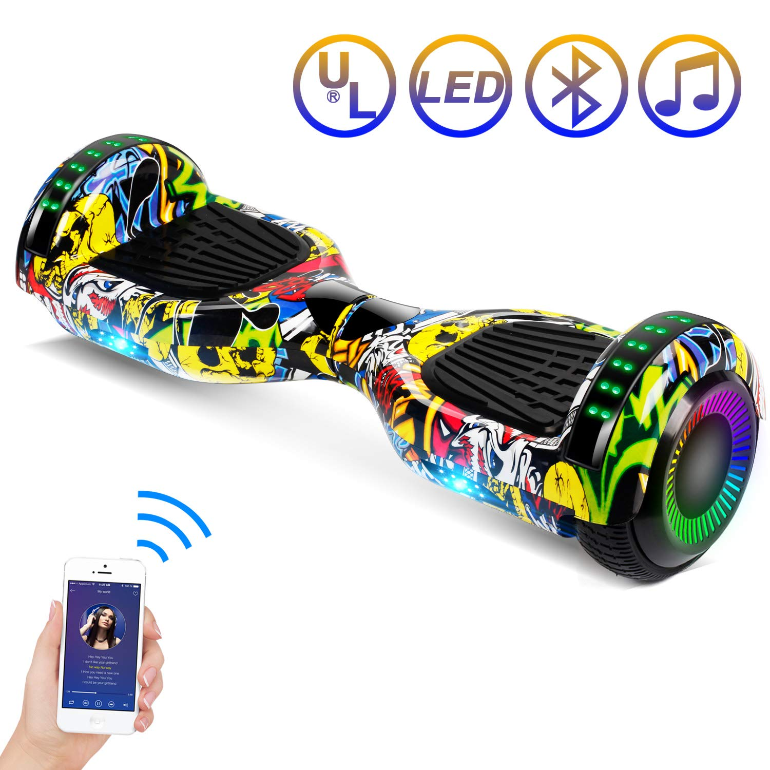 SISIGAD Hoverboard, 6.5 Two-Wheel Self Balancing Hoverboard w Bluetooth Speaker – Flashing Tunnel Series