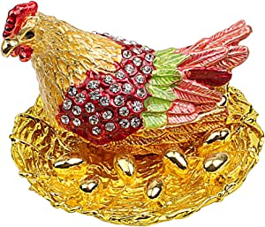 Hophen Hen Hatching Eggs Bejeweled Collectible Trinket Jewelry Box Chicken Coop Ring Holder Mother`s Day Home Decor Figurine Ornament (Colorful)