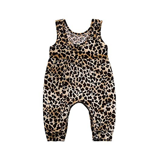 d8f4ed6c23f3 Amazon.com  Tanhangguan Baby Girl Jumpsuit Summer Leopard Print Jumper  Romper Bodysuit Casual Playsuit Clothes Jumpsuit Outfits  Clothing