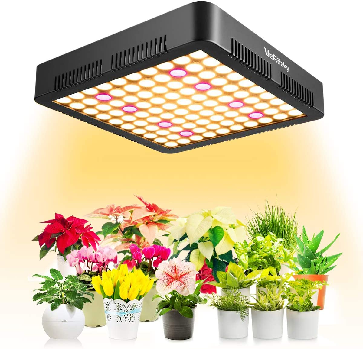 New Upgrade 1000W LED Grow Light, Dual Switch Dual Chips Full Spectrum LED Grow Light Hydroponic Indoor Plants Veg and Flower Actual Power 135W