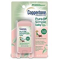 Coppertone Pure & Simple Baby SPF 50 Sunscreen Stick, Water Resistant, Pediatrician...