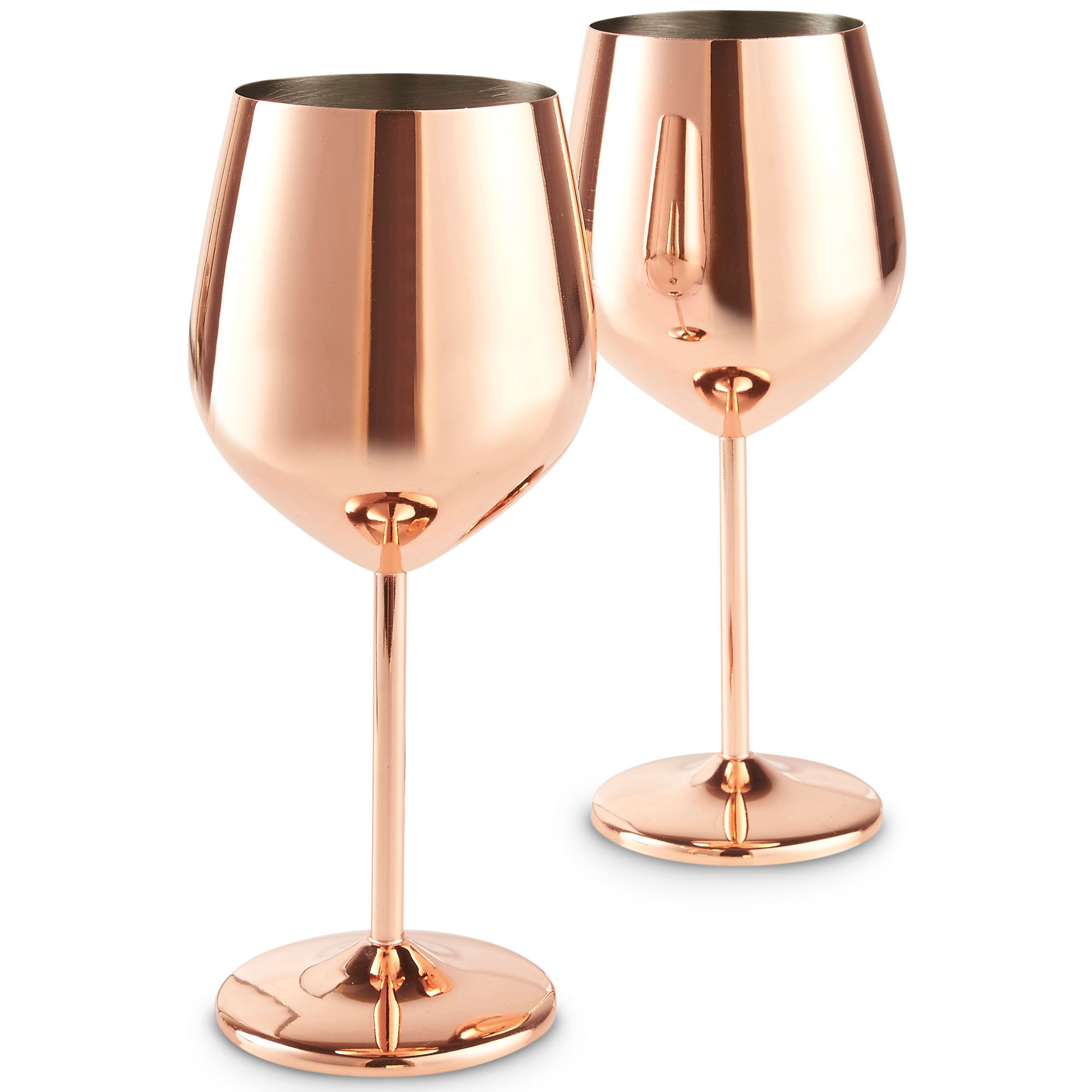 VonShef Copper Wine Glasses, Stainless Steel, Set of 2 16oz Shatter Proof Glasses with Gift Box