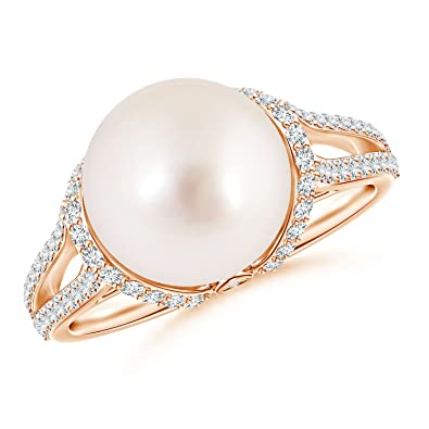 Angara Twin Shank South Sea Cultured Pearl and Diamond Cradle Ring Z5LxC