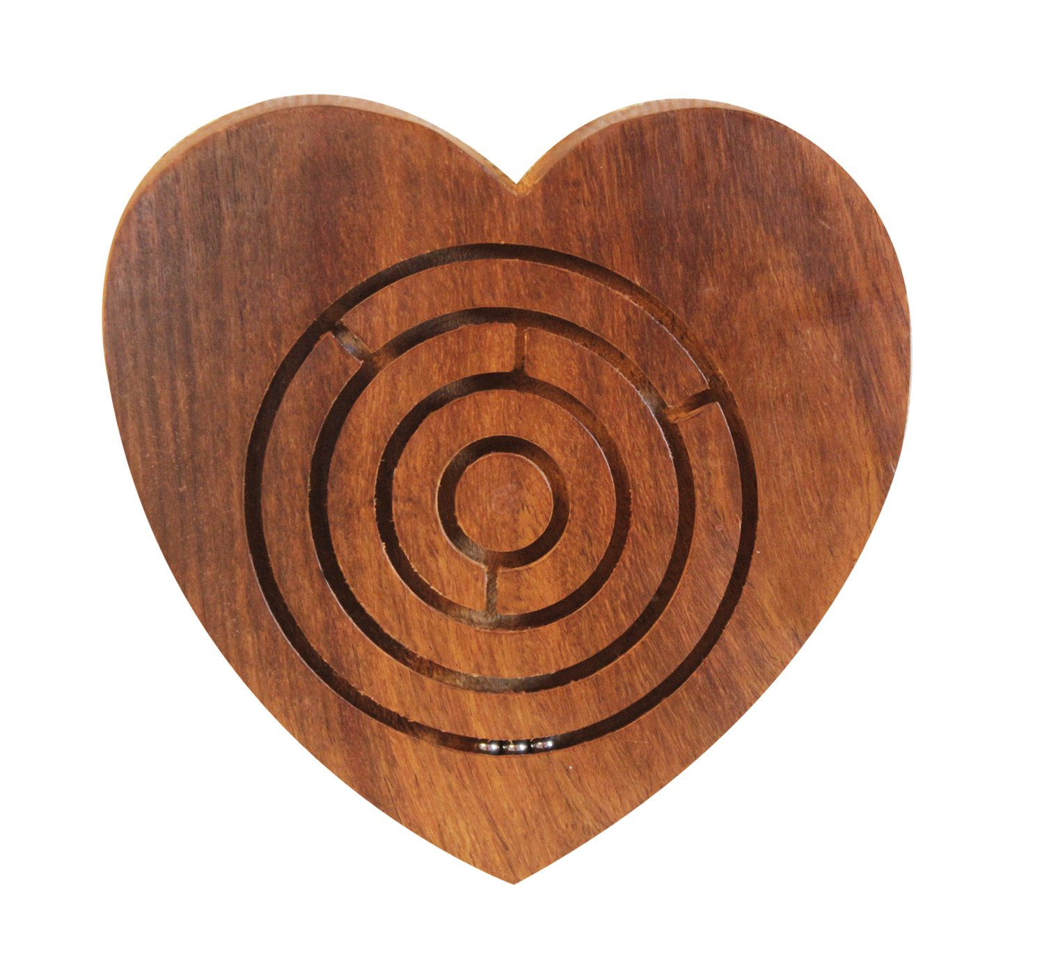 Handmade Wooden Labyrinth Puzzle Heart Shaped Ball in Maze Holiday Board Desk Game Travel Toy Brain Teaser for Kids Adults