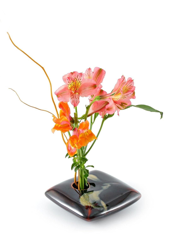 Georgetown Pottery Square Ikebana Flower Vase Black Wave