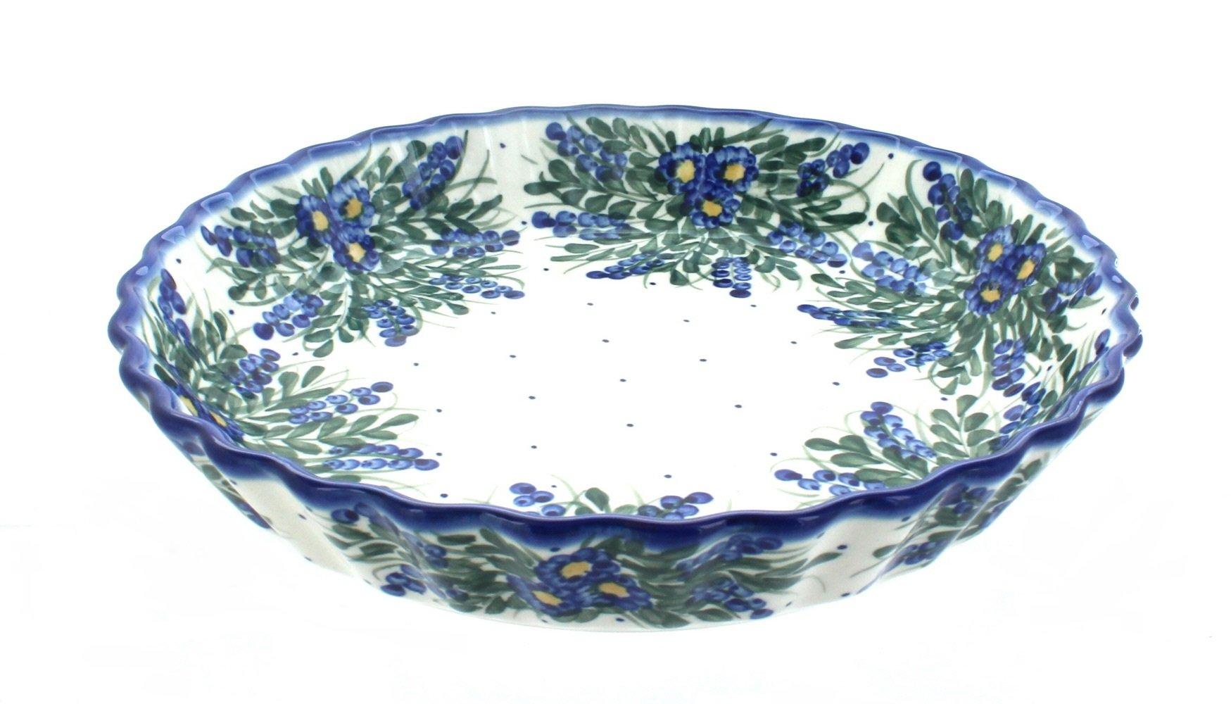 Blue Rose Polish Pottery Hyacinth Pie Plate