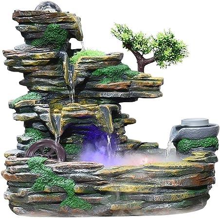 Xilinshop-Fuentes decorativas Fuente de Piedra de montaña de Interior Creativa Cascada de Tres Pisos y atomizador Humidificador de decoración de Escritorio (tamaño : S): Amazon.es: Hogar