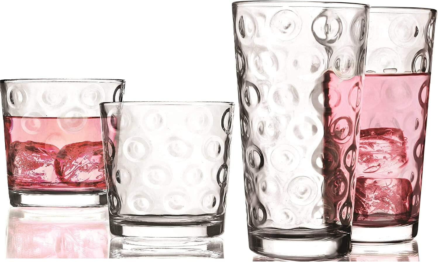 Circleware DoubleCircle Huge 16-Piece Glassware Set of Highball Tumbler Drinking Glasses and Whiskey Cups for Water, Beer, Juice, Ice Tea Beverages, 8-15.75 oz & 8-12.5 oz, Circles