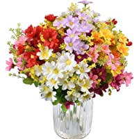 10 Bouquets Artificial Flowers Fake Silk Daisy Plants for Indoor Home Wedding Party Decoration, Assorted Colors