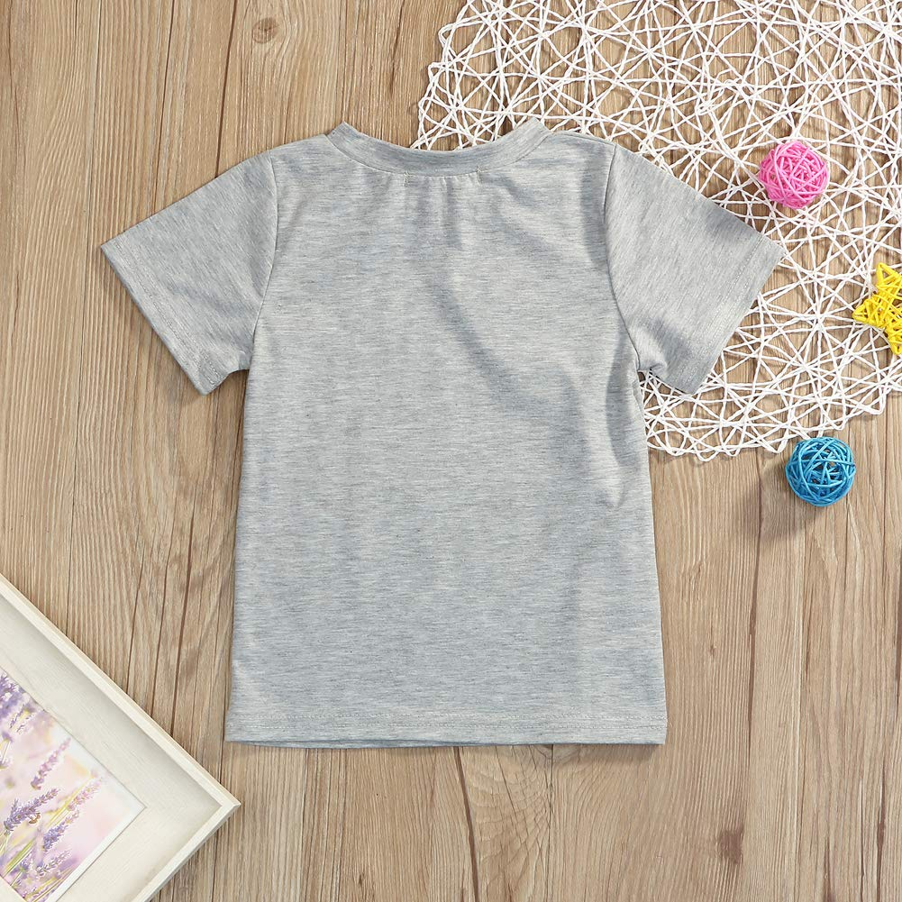 Younger star 1PC Children Baby Boy Gray Letter Print Short Sleeve T-Shirt Clothes Outfit (Gray-Brother, 3 T) by Younger star (Image #3)