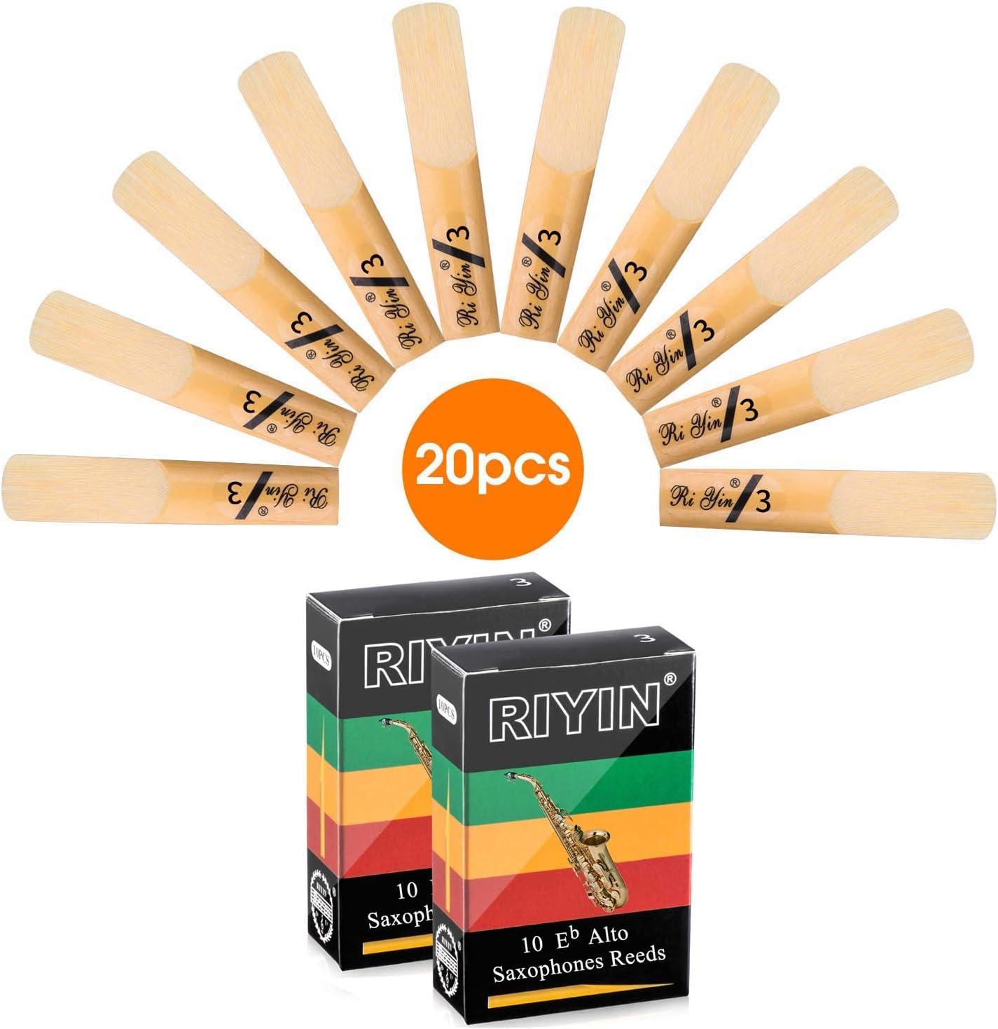 20pcs Alto Saxophone Reeds 3.0 Size 3 Alto Sax Reeds Strength 2.5 3.0 Optional (3.0, 20 Packs) 71ak6dvra4L