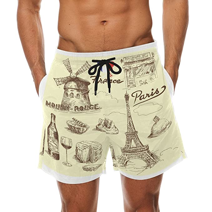 d0cb58d5f040 Image Unavailable. Image not available for. Color: DEYYA Men's Paris Eiffel  Towel Chevron Surf Swim Trunks Quick Dry Beach Pants Board Shorts