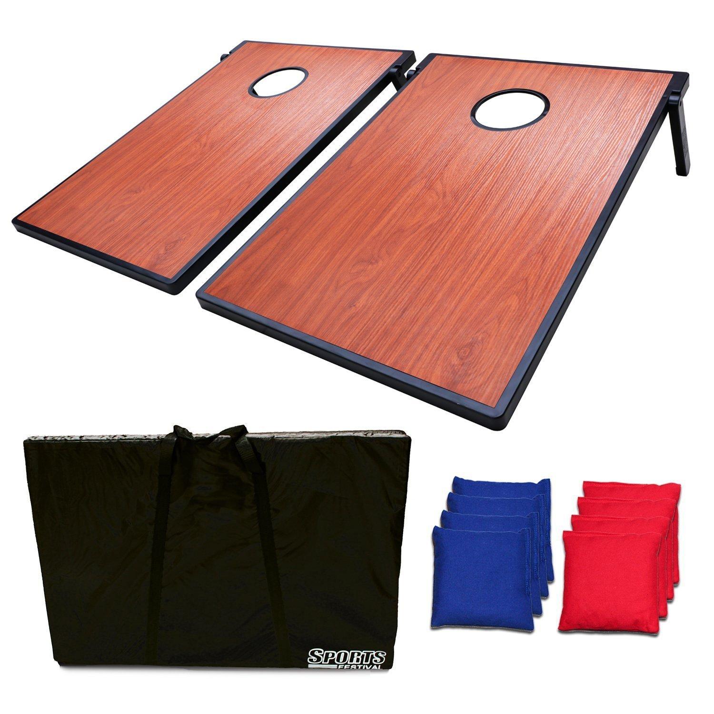 Sports Festival Cornhole Bean Bag Toss Game and Tic Tac Toe Wood Look Texture