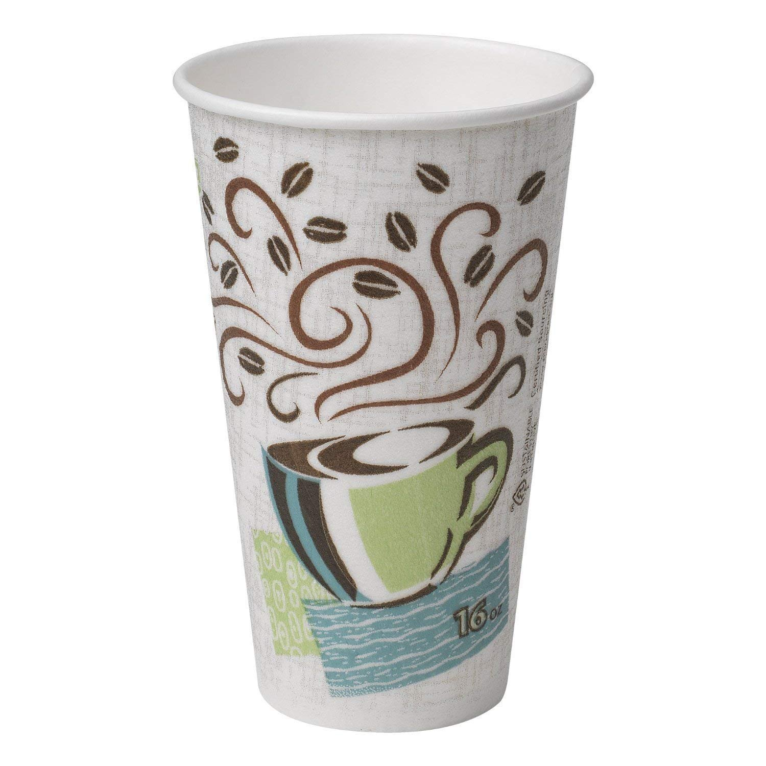 Dixie Perfectouch Insulated Paper Hot Cup, Coffee Haze Design, 75 Count 16oz by Dixie