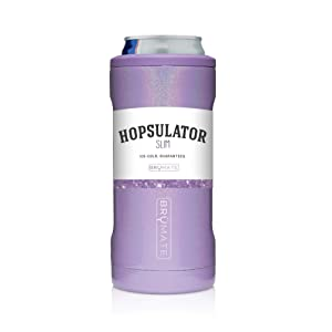 BrüMate Hopsulator Slim Double-walled Stainless Steel Insulated Can Cooler for 12 Oz Slim Cans (Glitter Violet)