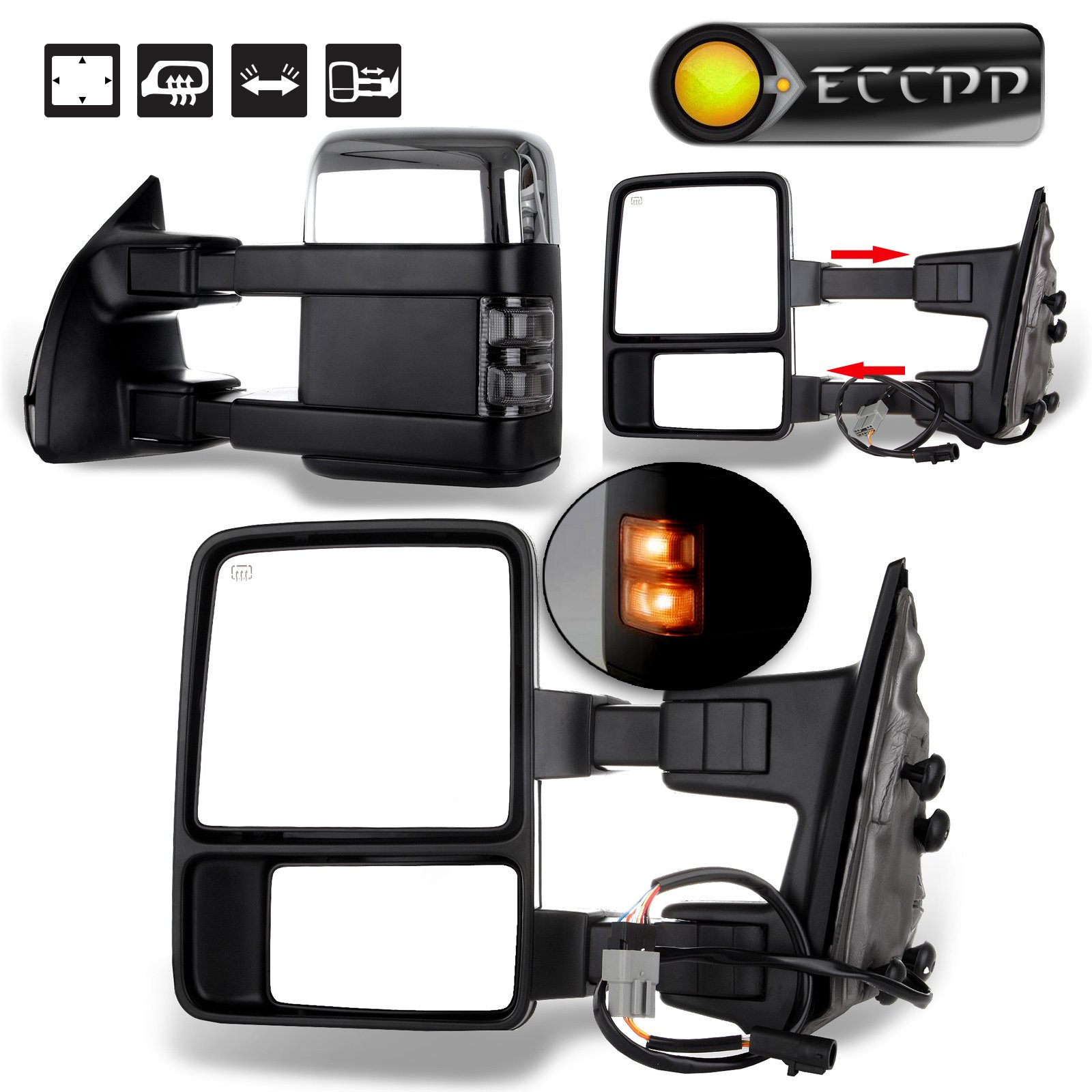 ECCPP Towing mirror For 1999-2007 Ford F250 F350 F450 F550 Super Duty Chrome Power Heated Smoke Signal Pair Set Mirrors