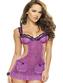 DreamGirl Women's Romantic Passion Apron Babydoll and Panty