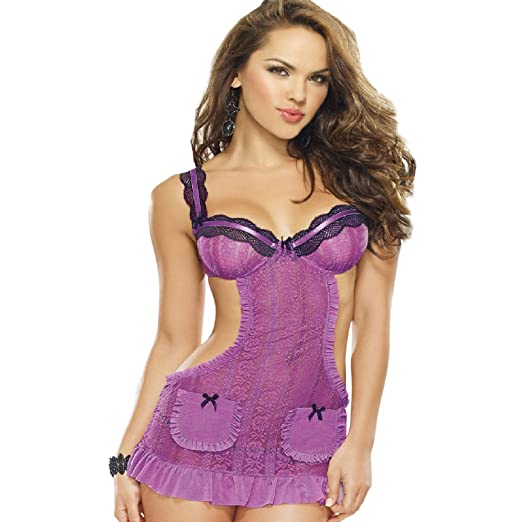 Amazon.com  Dreamgirl Women s Romantic Passion Apron Babydoll and Panty   Clothing f7037710d