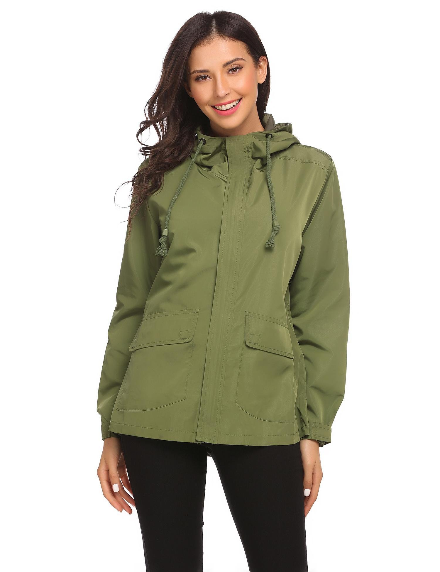 Vansop Casual Solid Top Military Wind Shirt Jacket Trenchcoat(Army Green)
