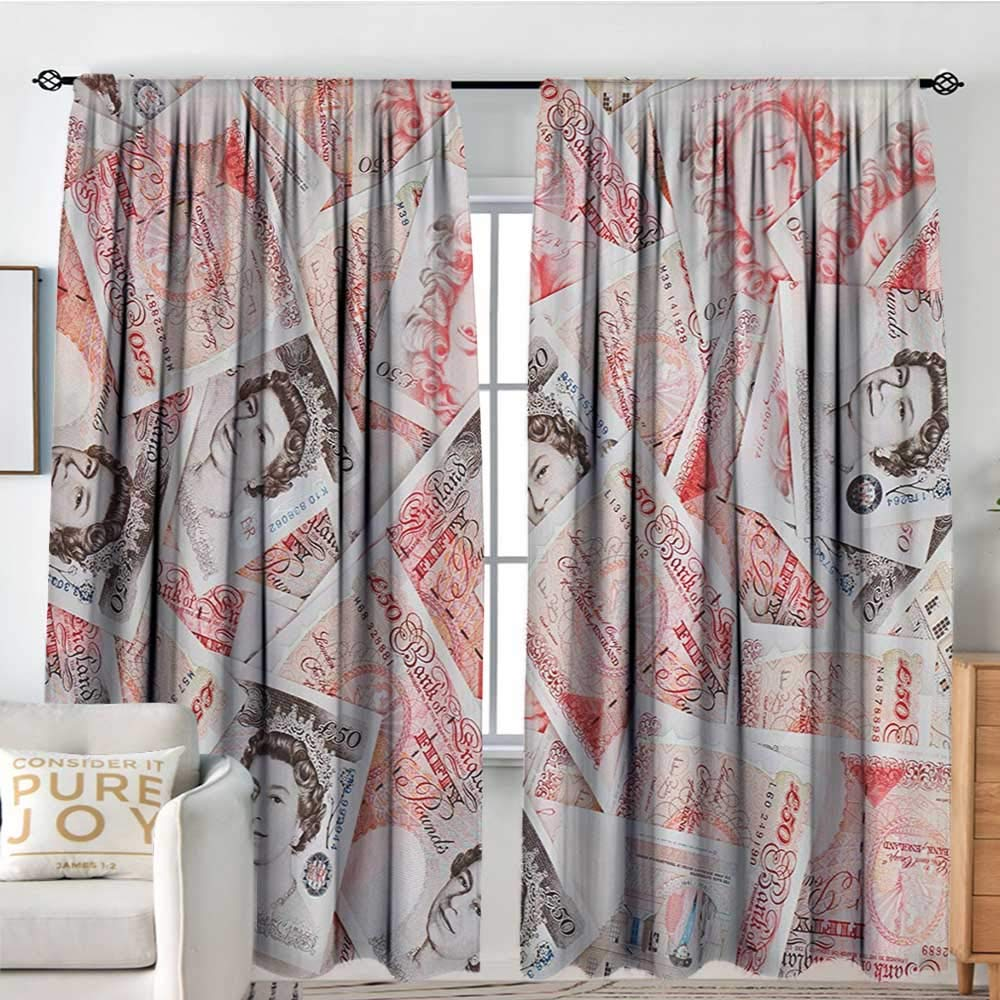 NUOMANAN Curtains for Bedroom Money,Bullseye Notes with a Portrait of Queen of England Paper Bills of Great Britain,Scarlet Taupe,Darkening and Thermal Insulating Draperies 72''x96''