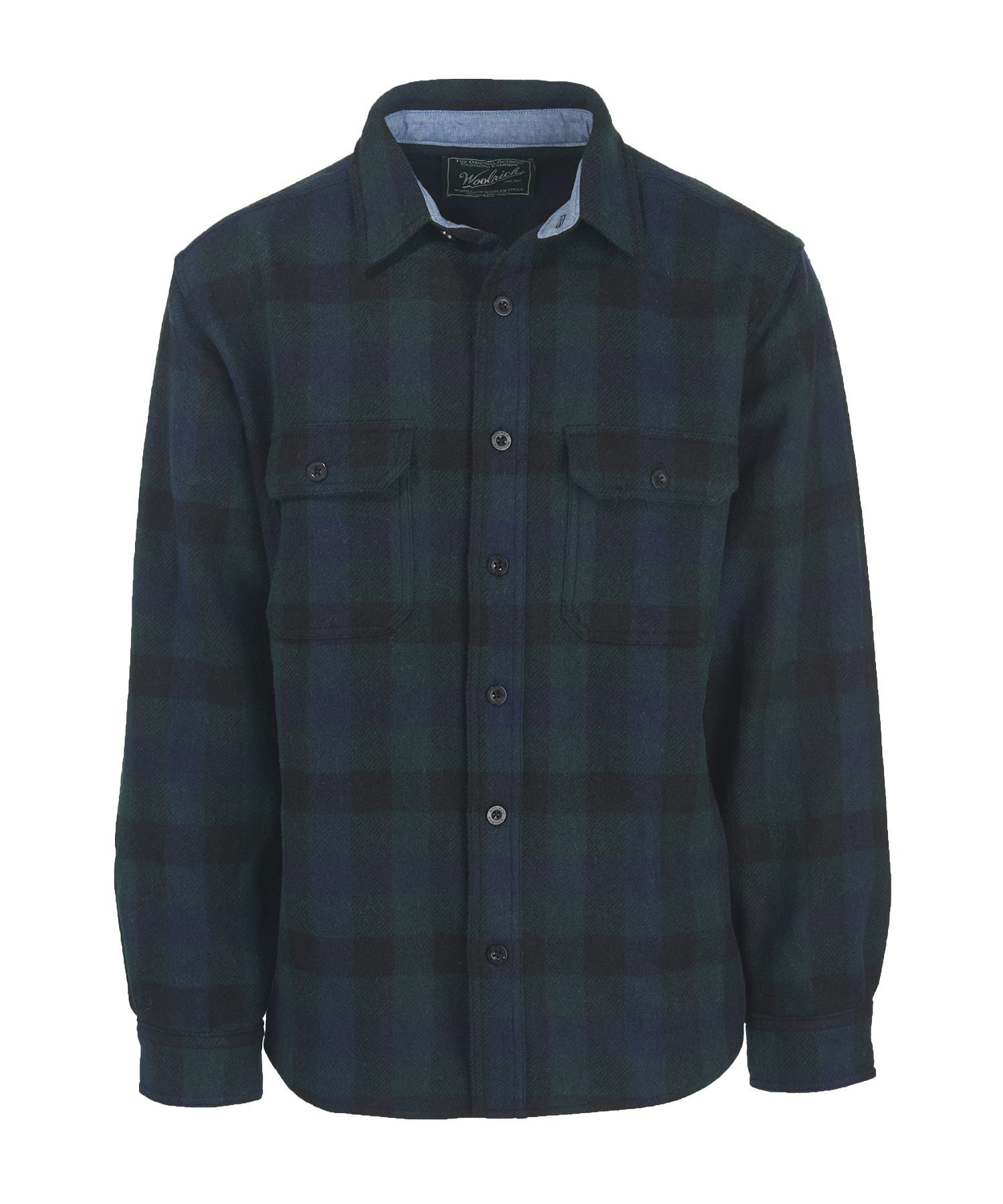 Woolrich Men's Wool Buffalo Shirt Modern Fit, Blue Buffalo, Small