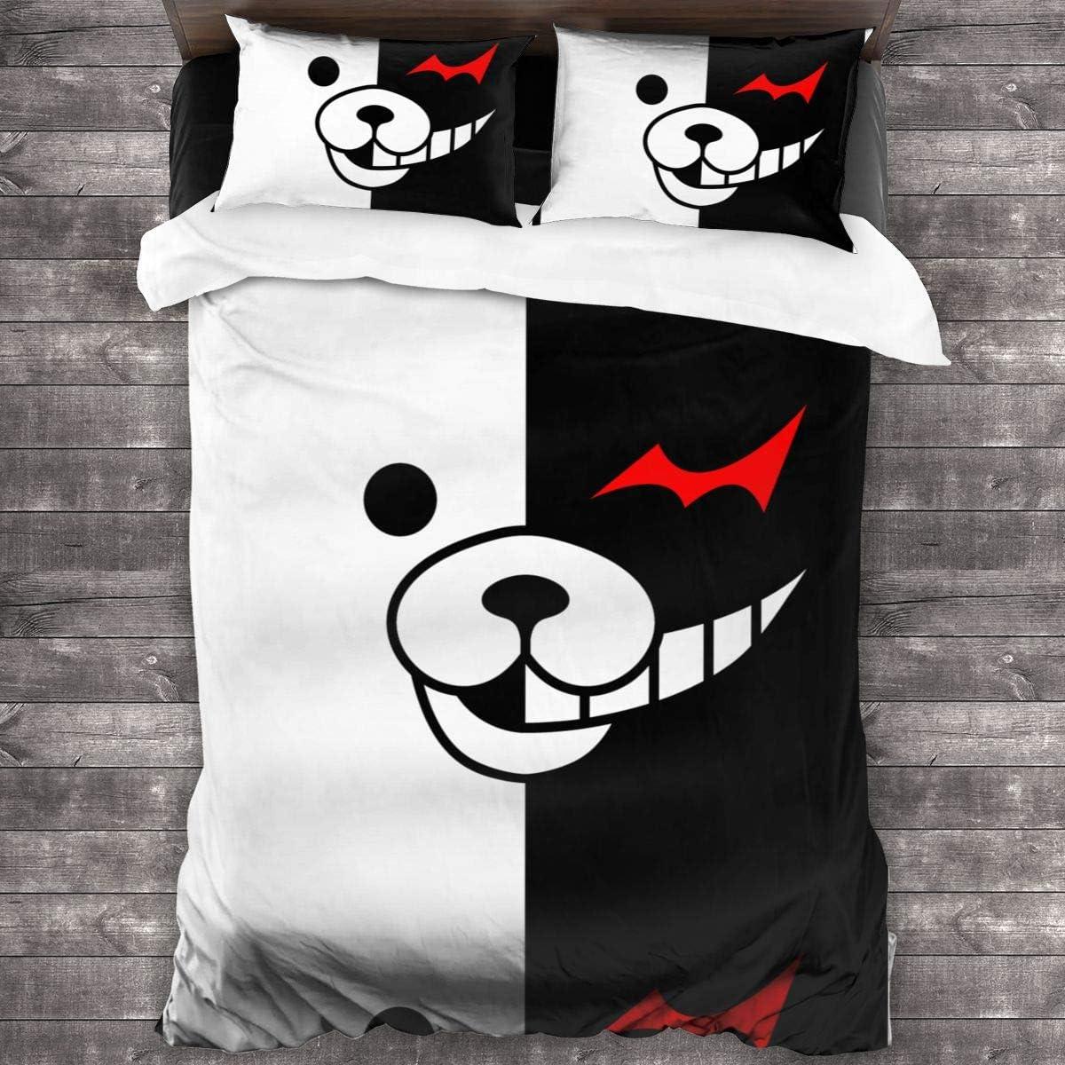 ,Twin for Teen Kids Children Adult Gift Bed Set No Comforter Hidreama Danganronpa-Monokuma 3Pcs Bedding Printing Duvet Cover Set Soft