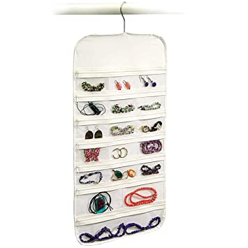 Hanging Jewelry Organizer 37 Pockets Bedroom Closet Color: White