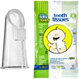 Baby Buddy Wipe-N-Brush & 30 Wipes—Innovative 6-Stage Oral Care System Grows With Your Child—Stage 3 for Babies/Toddlers—Kids Love Them Clear