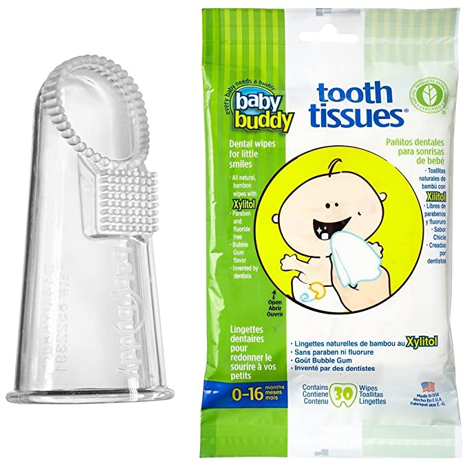 Amazon.com: Baby Buddy Wipe-N-Brush & 30 Wipes—Innovative 6-Stage Oral Care System Grows With Your Child—Stage 3 for Babies/Toddlers—Kids Love Them Clear: ...