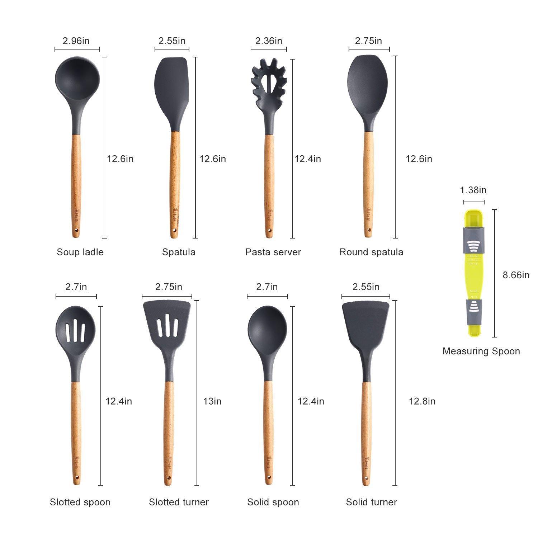 9-Piece Silicone Cooking Utensils Set, Lifelf Premium Non-Stick Heat Resistant Kitchen Utensils Set with Wooden Handles for Cooking Baking BBQ,BPA Free (Dark Gray) by Lifelf (Image #2)