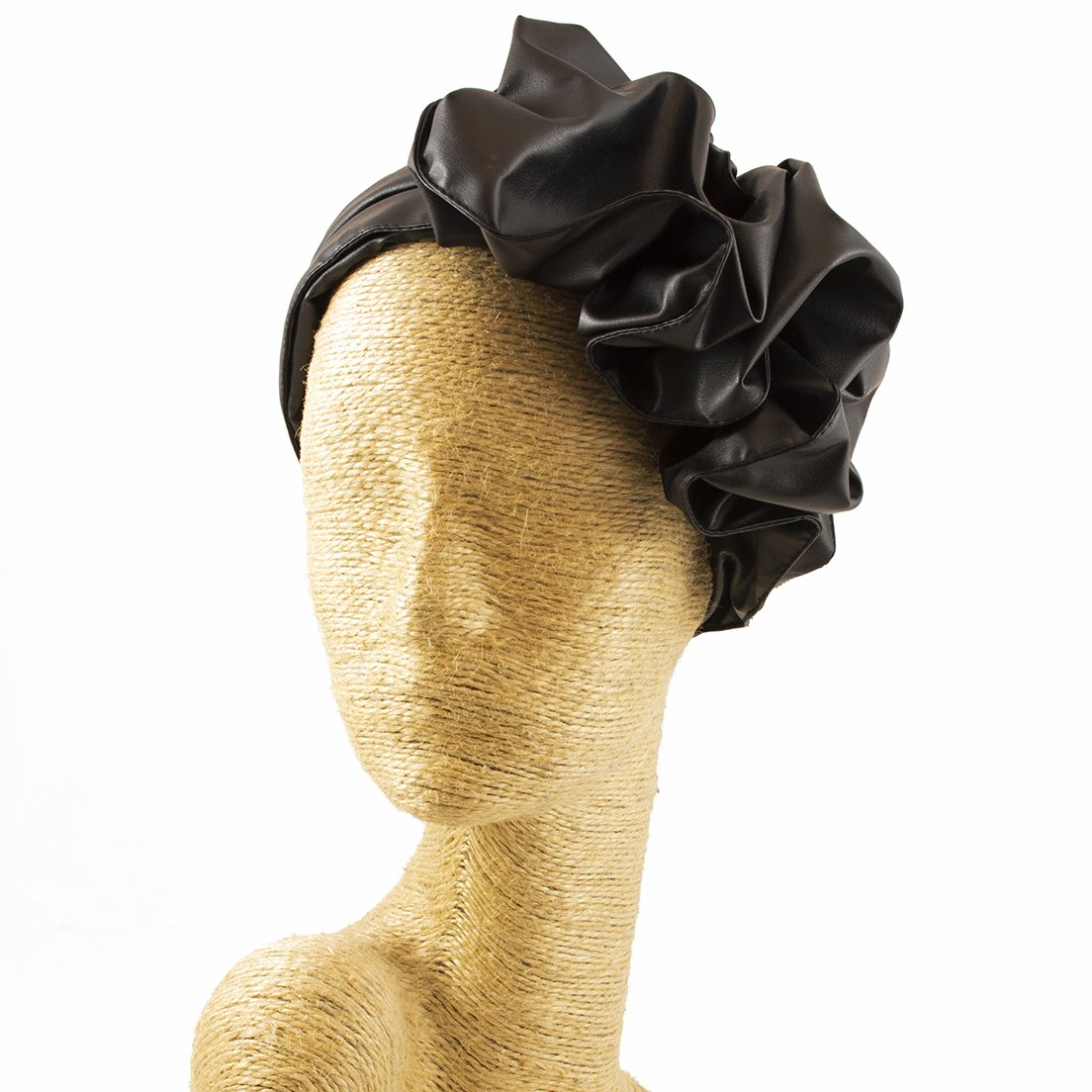 Fascinator, Black, Leather Headband, Milliner, Worldwide Free Shipment, Delivery in 2 Days, Customized Tailoring, Designer Fashion, Party Hat, Derby Hats, Gift Box