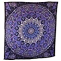 Popular Handicrafts Hippie Mandala Tapestry Blue Purple Tapestry Wall Hanging Large Table Runner Bed Cover Indian Art Cotton Bohemian Hippie Tapestry Bedsheet Wall Hanging By Popular Handicrafts