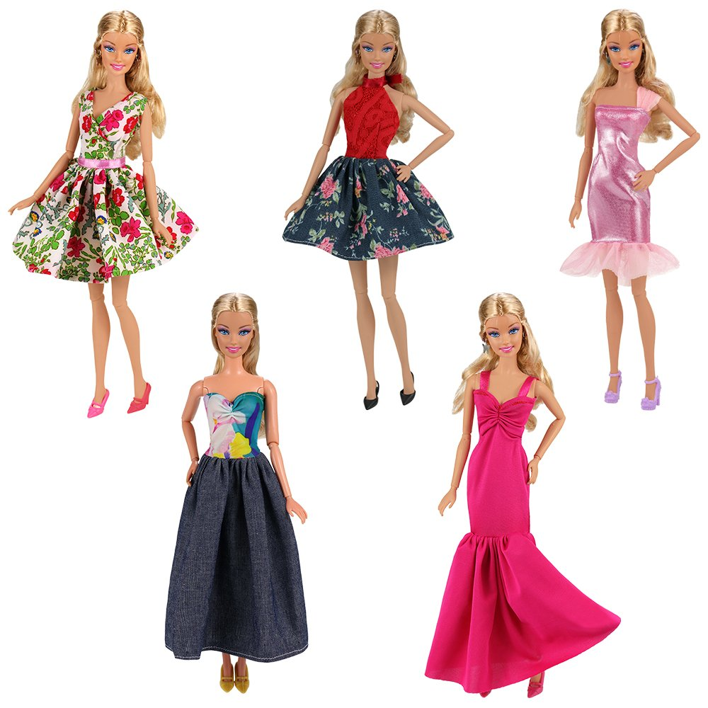 Miunana 15 Piezas Vestido Fashion Falda Mini Fiesta Ropas Casual 40 Accesorios como Regalo Estilo al Azar para Barbie Mu/ñeca CE Certificado