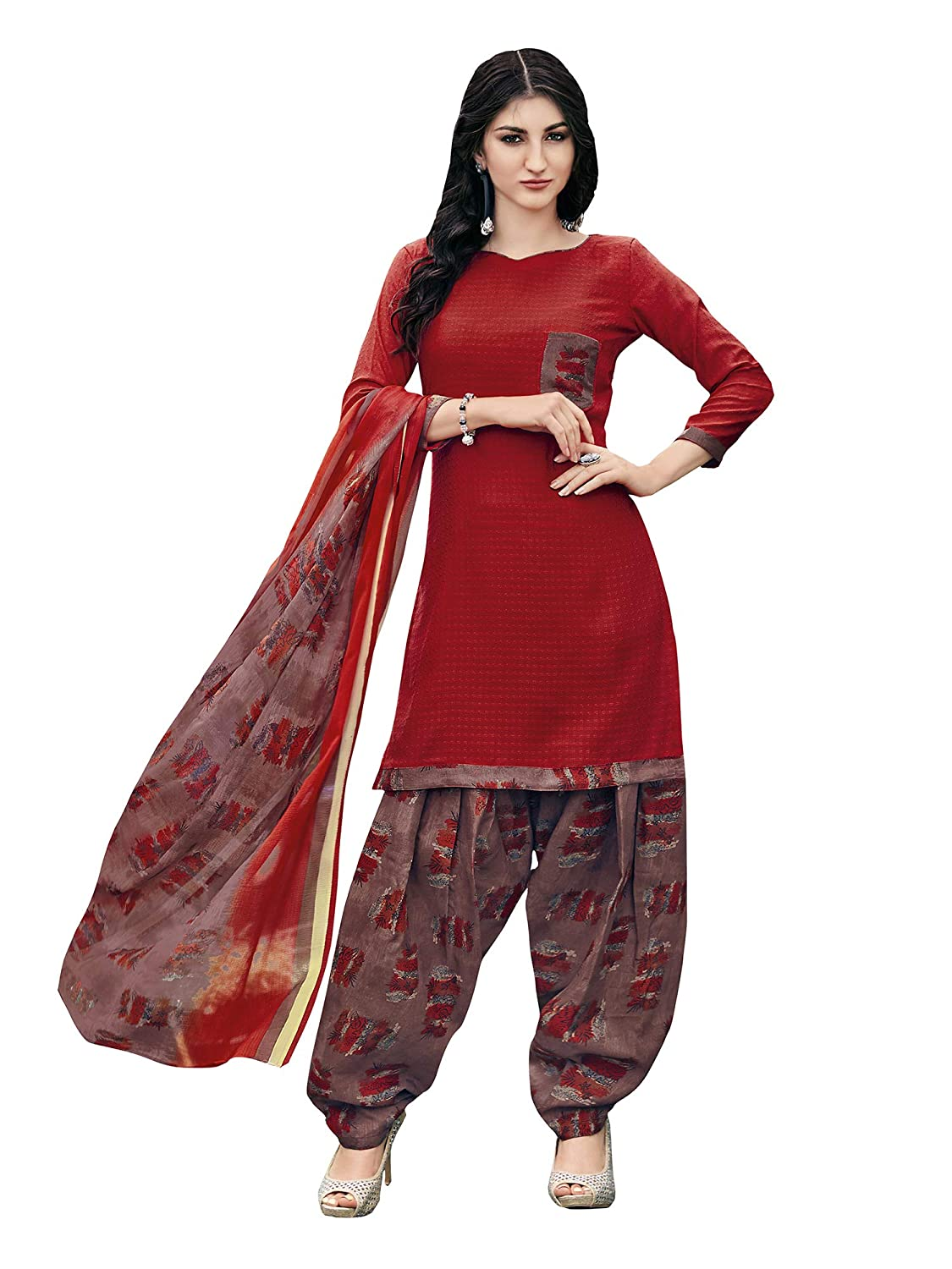 AKHILAM Women's Cotton Blend Unstitched Dress Material (Salwar Suit_6NYSP994_Red_Free Size)
