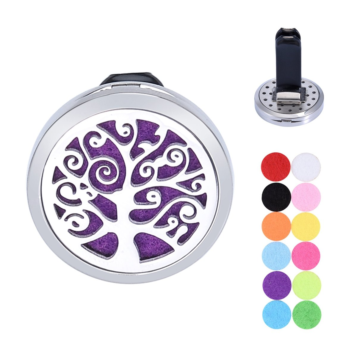 Tree of Life Car Air Freshener Aromatherapy Essential Oil Diffuser Vent Clip Stainless Steel Locket with 12 Felt Pads Supreme glory SGto-B227847